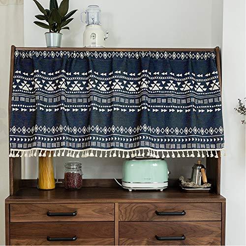 Michorinee Visillo bohemio bistro visillo corto, diseño geométrico, opaco, azul marino, cortinas para cocina, baño, café, armario, ancho 68 × alto 45 cm, algodón y lino con borla