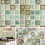 Livelynine Vinyl Bathroom Wallpaper Peel and Stick Blacksplash for Kitchen Wall Paper Waterproof Contact Paper for Walls Floors Self Adhesive Vinyl Mosaic Tiles Wall Sticker 15.8x78.8 Inch