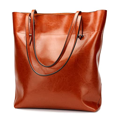 Covelin Womens Handbag Genuine Leather Tote Shoulder Bags Soft Hot Brown