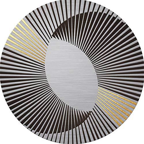 WQ-BBB Pflegeleicht Teppich Graues rundes haarloses Kristallvlies abstraktes schwarzes Gold langlebig schön Schlafzimmers Teppichboden 180X180cm