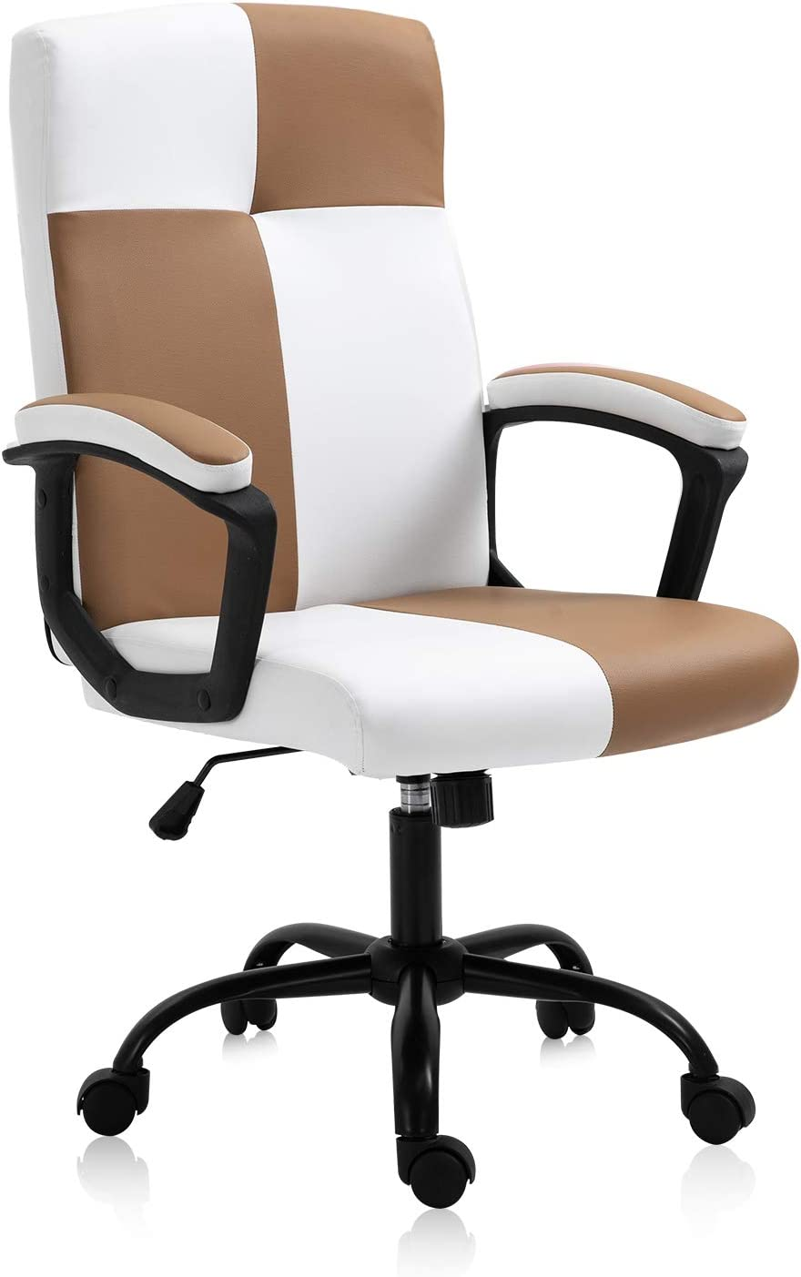 KERMS Mid-Back Ergonomic Office Faux PU Leather Chair Executive Computer Desk Chairs Managerial Executive Chairs with Metal Base and Padded Armrests (Khaki & White): Kitchen & Dining
