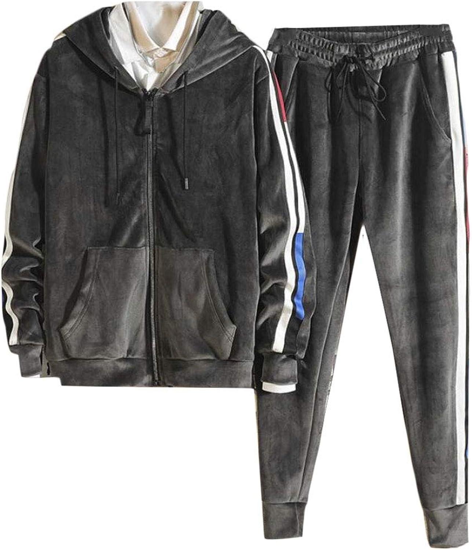 PujinggeCA Men Velvet Zipper Hoodie Pants 2 Pieces Sports Sweatsuits Tracksuits