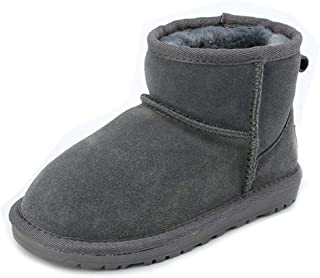 Girls Boys Warm Winter Fur Outdoor Flat Shoes Slip-on Snow Boots Comfortable Casual Walking Boots(Toddler/Little Kid)