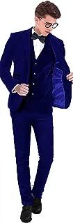 Setwell Velvet Slim Fit Men Suit Groomsmen Tuxedos Wedding Prom Velour Mens Suits 3 Pieces