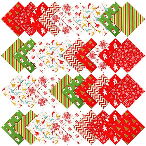 40 Pieces Christmas Fabric Squares Quilting Fabric Bundle Sewing Quilting Craft for DIY Christmas Sewing Scrapbooking Quilting (10 x 10 Inch)