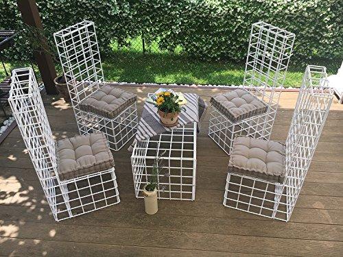 LINEA DAMA Set di mobili da Giardino in Ferro Verniciato 4 sedie e 1 Tavolo 103x53 cm. 2 Colori Disponibili (Bianco)