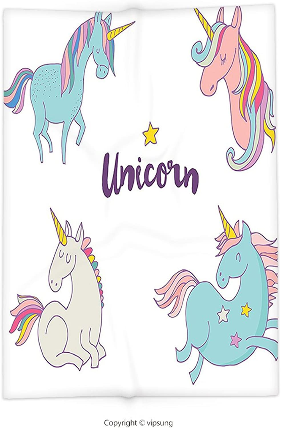 Vipsung Throw Blanket with Unicorn Home and Kids Decor Different Unicorn Female Charm Believe Wish Sublime Animal Concept Multi Super Soft and Cozy Fleece Blanket