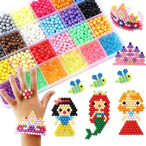 DOITEM Kristallperlen Nachfüllset für Regelmäßige Größe 5mm Aqua Perlen Bastelset Starter Set Designer Kollektion für Kinder Komplett-Set (24 Farben 3000 Perlen)