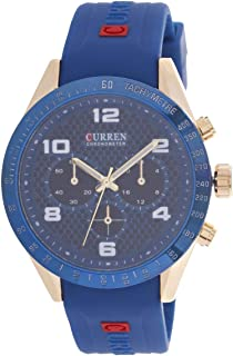 Curren Men's Blue Dial Rubber Band Casual Watch - M-8167