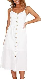 ZESICA Women's Summer Spaghetti Strap Solid Color Button Down Swing Midi Dress