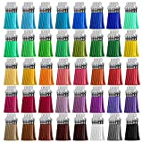 Tassels, Cridoz 200pcs Leather Keychain Tassels Bulk for Crafts, Keychains Supplies, Acrylic Keychain Blanks, Charms, Earrings, Bracelets and Jewelry Making (40 Colors)