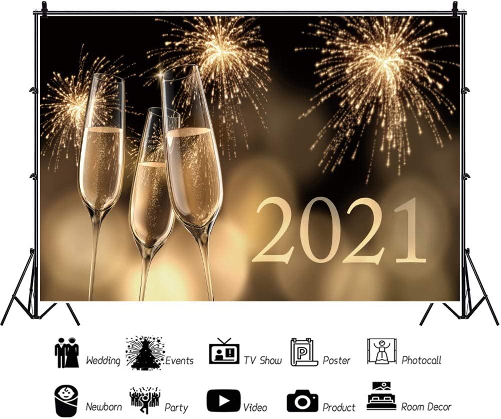 Renaiss 20x10ft 2021 Happy New Year Backdrop Wine Glasses Champagne Firework Sparkle Gold Bokeh Photography Background Winter Holiday Festival Banner New Year Christmas Celebration Photo Studio Props