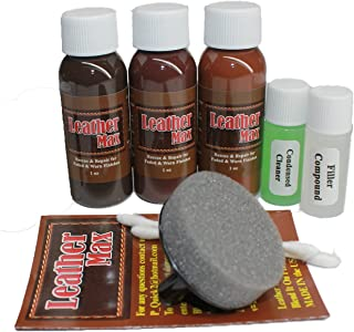 Leather Max Complete Leather Refinish, Restore, Recolor & Repair Kit/Now with 3 Color Shades to Blend with/Leather & Vinyl...