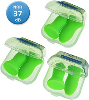 Reusable Sleep Earplugs for Noise Reduction 3 Pairs - Highest 48.4dB NRR Foam Hearing Protection Ear Shield for Sleeping, Travel, Work, Snoring - Give You Good Sleep and Quiet