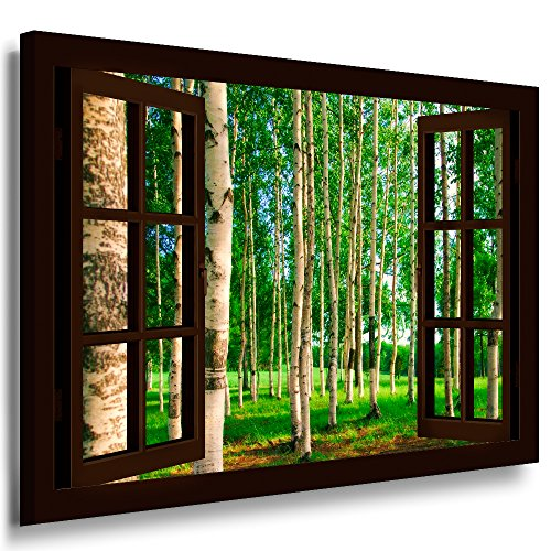 BOIKAL XXL142-11 Fensterblick Leinwand bild 3D Illusion - Fertig Gerahmte Bilder kein Poster - Wandbild 80 x 70 cm Braun - Farbe Große 21 Variante wählbar - Fenster Kunstdruck Landschaft Birkenwald, Bäume Birke