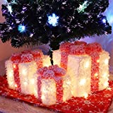 """ATDAWN 12"""" Set of 3 Lighted Gift Boxes Christmas Decorations, White Snow Pre-lit Present Boxes, Christmas Home Gift Box Decorations"""