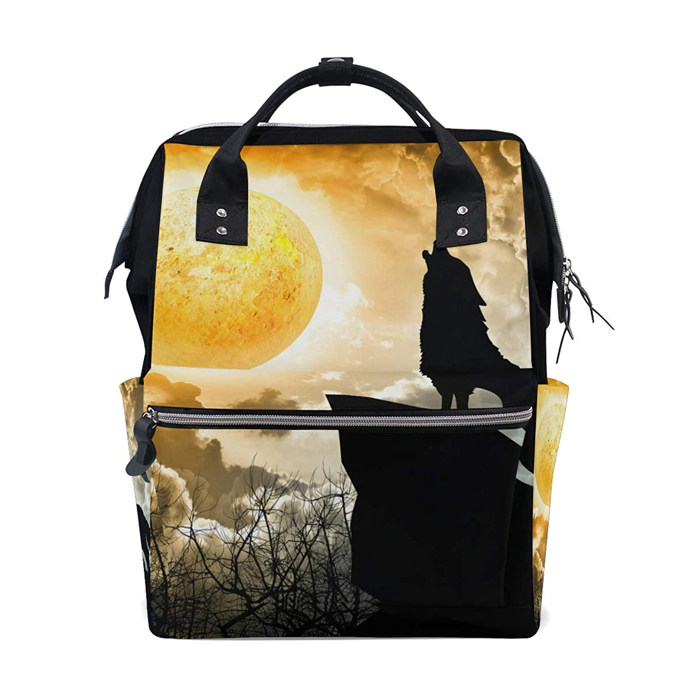 Wolf Howling Full Moon Forest Night School Backpack Large Capacity Mummy Bags Laptop Handbag Casual Travel Rucksack Satchel For Women Men Adult Teen Children