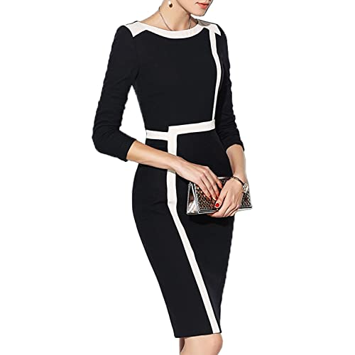 b782fc5342 WOOSEA Women s 2 3 Sleeve Colorblock Slim Bodycon Wear to Work Pencil Dress