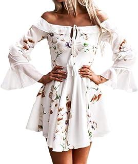 Hirolan Kleider Damen Frühling Sommer Herbst Kleider Spitze Lange Ärmel Schulterfreies Kleid Weißes Strandkleid Swing Boho Casual Party Täglich MiniKleid