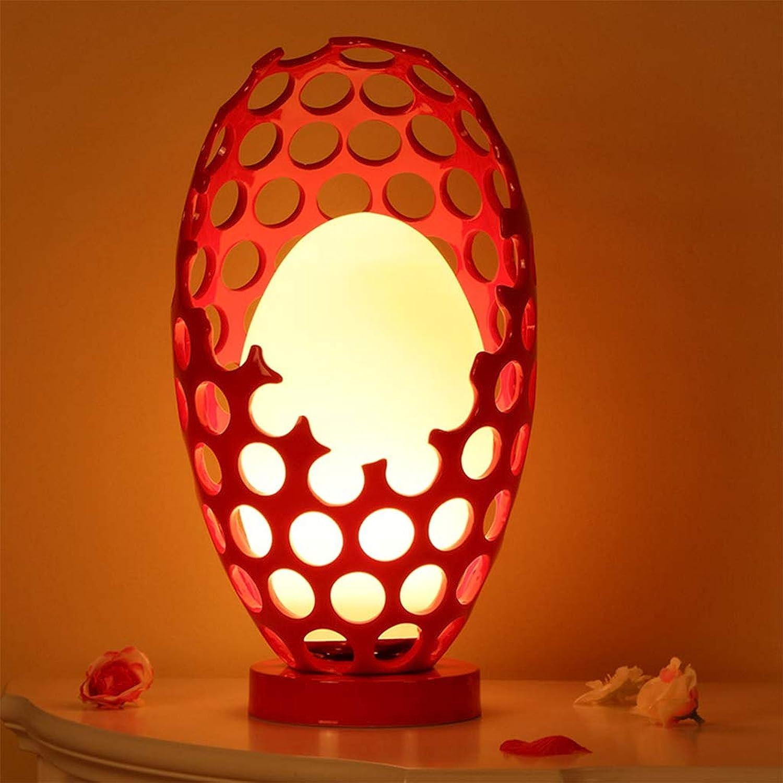 ZQH Kreativ Dinosaurier-Eier Schreibtischlampe, Schlafzimmer Bedside Tischlampe Einfach Modern Nachtlicht Zuhause Wohnzimmer Studie Dekorativ Beleuchtung Leistung Schalter wechseln,rot,43  25CM