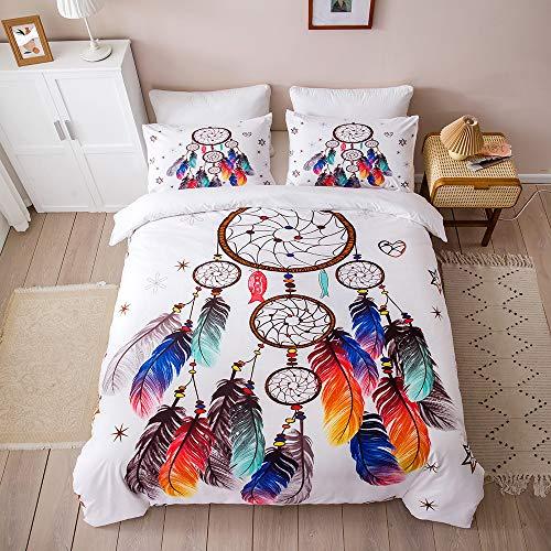 Nitwy - Juego de ropa de cama (135 x 200 cm, 2 piezas, diseño de flores, plumas, multicolor, microfibra, juego de ropa de cama para niños, niñas, funda nórdica y funda de almohada de 50 x 75 cm)