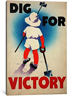 "iCanvasART 1-Piece Dig for Victory""WWII"" Vintage Poster Canvas Print by Unknown Artist, 1.5 by 12 by 18-Inch"