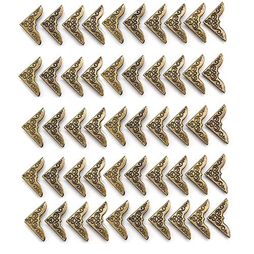 Qiwenr Retro Protector de Esquinas de Libro de Metal, 50 Piezas Esquineras Scrapbooking Esquinas Decoración para Libros File Folder �lbum de Fotos Diario