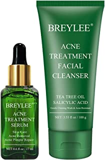 Acne Treatment Serum plus Acne Facial Cleanser, BREYLEE Acne Treatment Set Pimple Clear Skin Kit for Clearing Severe Acne,...