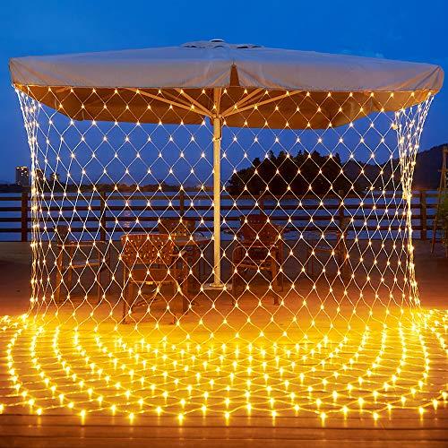 Airsnigi 192 LED Lichternetz 3x1.5m LED Lichterkette Außen Warmweiß mit Stecker, 8 Modi Lichterkettenvorhang IP44 Wasserdicht Lichtketten, Lichternetz Innen Außen Deko für Garten, Hochzeit Party