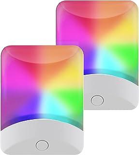 GE Color-Changing LED Night Light, 2 Pack, Plug-in, Dusk-to-Dawn, Home Décor, for Kids, Ideal for Bedroom, Bathroom, Nurse...