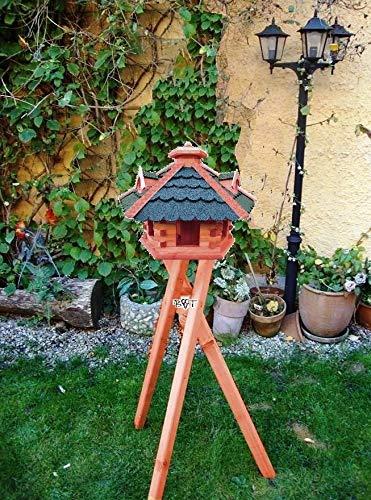 BTV Haus & Garten Vogelhaus/Vogelhaus mit Ständer, behandelt - Futterhaus mit GRÜN moosgrün - GRAU Dach,komplett mit Futterschacht/silo zum Nachfüllen + 3 Gauben als Fettspender und Ständer