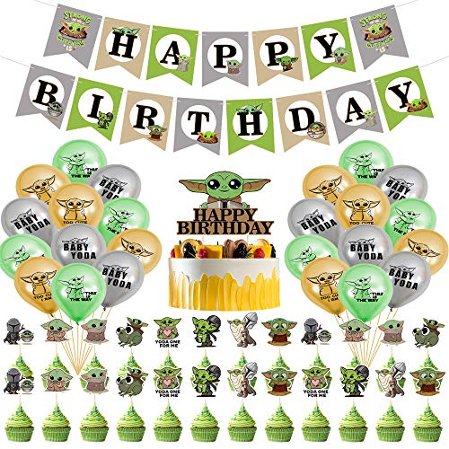 Juego de 50 decoraciones para fiesta de Yoda de bebé, suministros de cumpleaños temáticos de Star Wars para niños y bebés, globos de Yoda