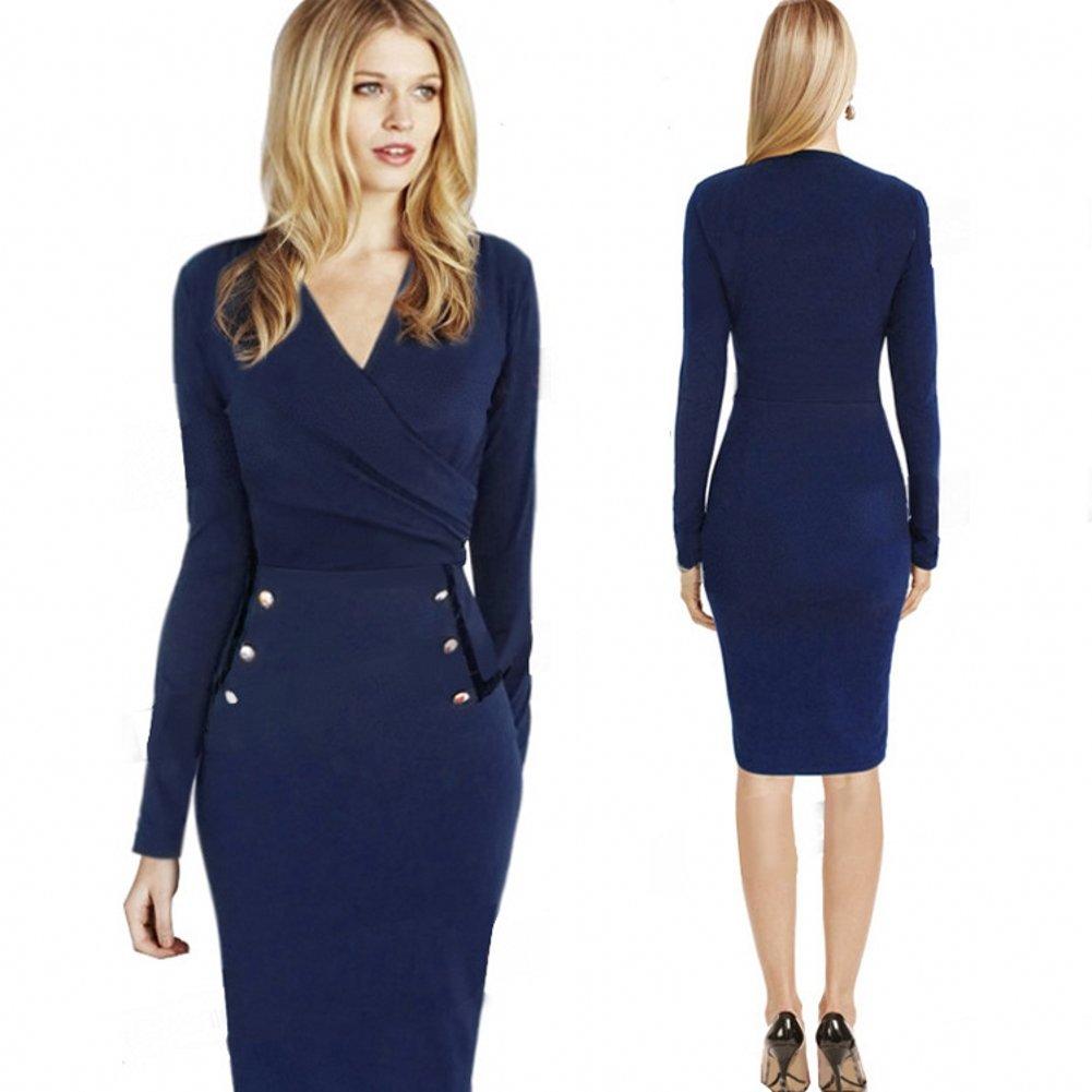 Free2mys Women's V Wrap Pencil Dress (Label Size X-Large(US 12-14))