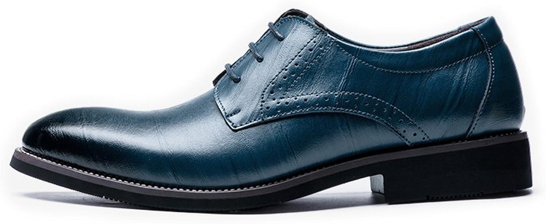 BMD-schuhe Lederschuhe, Mens Echtes Leder Modern Modern Modern Tuxedo Schuhe schnüren Sich Business gefütterte Oxfords (Farbe   Blau, Größe   44 EU)  f6700e