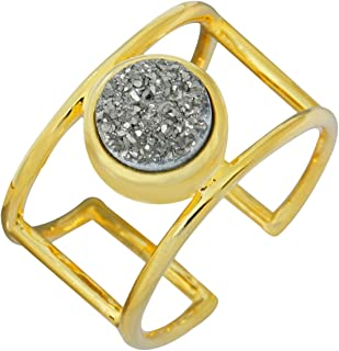 Nupuyai Titanium Coated Druzy Stone Rings for Women and Men, Adjustable Crystal Quartz Finger Ring for Unisex