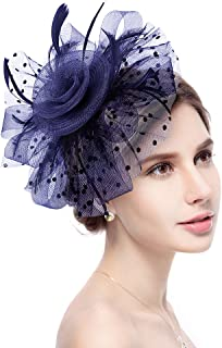 Fascinator Hat Jack & Rose Flower Feather Net Mesh Kentucky Derby Tea Party Headwear with Hair Clip and Hairband for Women or Girls