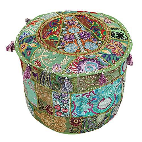 DK Homewares Indischer runder Hocker Grün Patchwork Bestickte Baumwolle Möbel Cover Dekorative Osmanische Fußstütze Sitzmöbel   (16x16x13 Zoll / 40 cm) NUR ABDECKEN