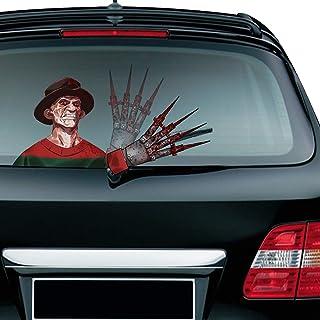 MIYSNEIRN Halloween Scary Freddy Waving Wiper Decal for Rear Window 3D Cartoon Festive Car Sticker Reusable Waterproof Vin...