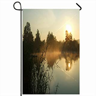 Ahawoso Outdoor Garden Flag 28x40 Inches Cane Colorful Fishing Morning On Lake Nature Red Sunny Boat Wood Calm Sunrise Mist Fisherman Woodland Seasonal Home Decor Welcome House Yard Banner Sign Flags