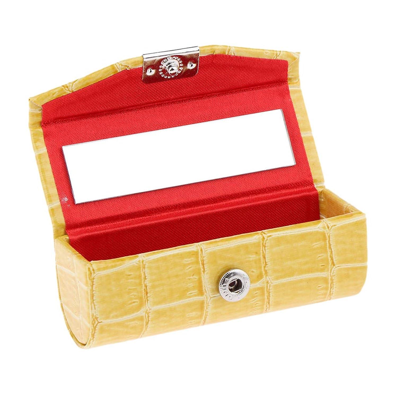 連合ごめんなさいスパンIPOTCH レザー リップスティックケース 口紅ホルダー ミラー 収納ボックス 多色選べ - 黄