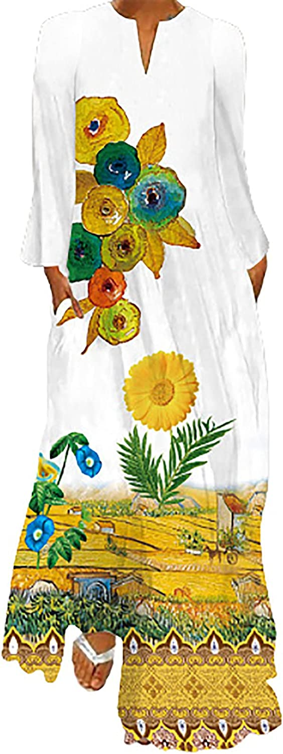 5665 Womens Maxi Dresses with Pockets Chic V Neck Loose Summer Holiday Baggy Dress Bohenmian Print Tunic Swing Shirt Dresses