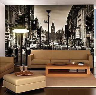 Mural Wall Art London Street, UK Non-Woven Seamless Decorative Wallpaper for Living Room Bedroom Restaurant 350cm(W) x250cm(H)-7 Stripes