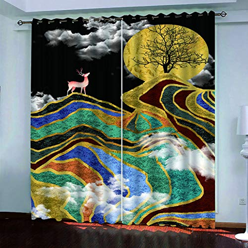 MMHJS 3D Digital Forest Printing Curtains, Polyester Waterproof Blackout Curtains, Durable Curtains For Hotel, Bedroom And Living Room (2 Pieces)