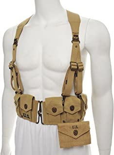 World War Supply US WW2 M1923 Cartridge Belt with Suspenders & First Aid Kit Khaki Marked JT&L 1942