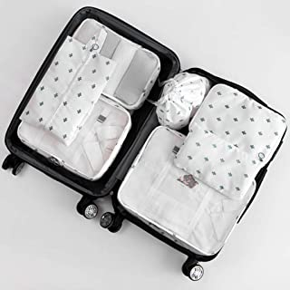 Travel Packing Cubes Set Multi-Functional Luggage Bags Suitcase Organisers (7 Pcs) for Travel & Family Storage (Black) Multi-Color Optional QDDSP (Color : E)