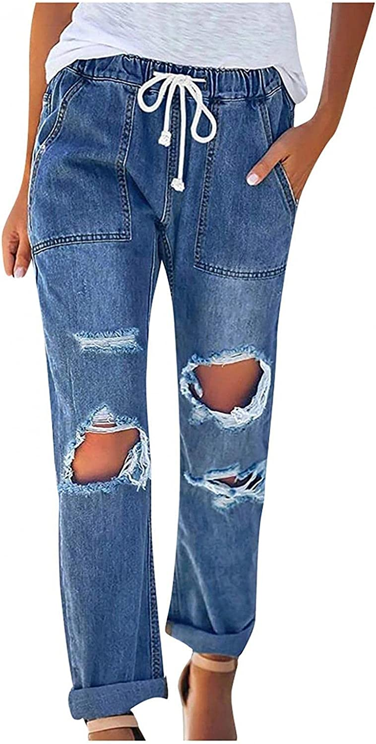 Women's Ripped Jeans High Waisted Stretch Baggy Casual Drawstring Denim Pants Trousers Classic Fit Slim Fit Ankle Jeans