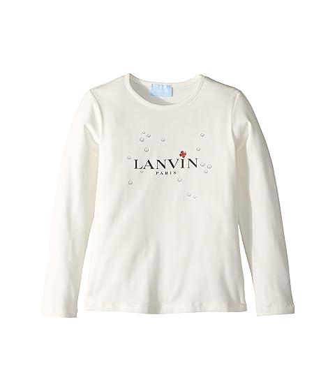 Lanvin Kids Long Sleeve Logo T-Shirt with Printed Bubbles (Little Kids/Big Kids)