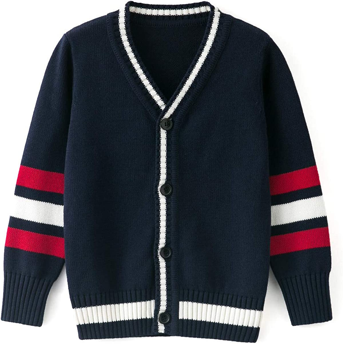 Curipeer Boys' Cardigan V-Neck Knitted Sweater Fall Button Up School Uniform 4-14Y: Clothing, Shoes & Jewelry