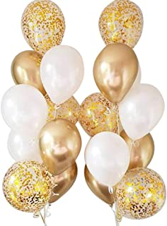 Autupy Set of 18 Chrome Gold Confetti Pearl Balloons,12 Inches Party Balloons