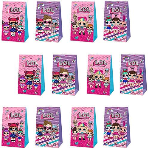 12pcs LOL Surprise Doll Party Geschenktüte Geburtstag Candy Bags Geschenk Papiertüte Wiederverwendbare Kinder LOL Party Boxen für Thema Geburtstagsfeier Gefälligkeiten Give Aways Lieferungen